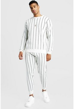 Mens Ivory Knitted Jumper & Jogger Set With Pinstripe