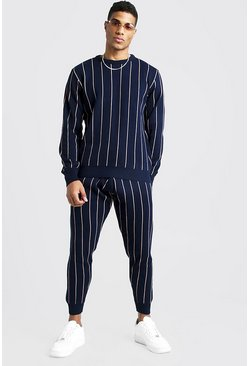 Mens Navy Knitted Jumper & Jogger Set With Pinstripe