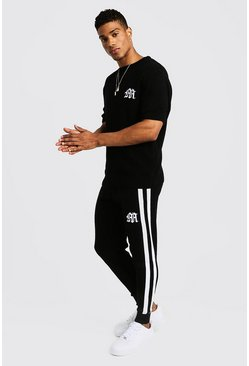 Mens White Gothic M Knitted T-Shirt & Jogger Set