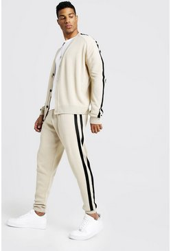 Mens Camel Knitted Cardigan & Jogger Set With Side Stripes