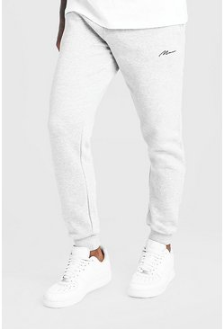 Mens Grey MAN Signature Slim Fit Joggers