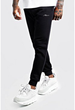 Mens Black MAN Signature Slim Fit Joggers