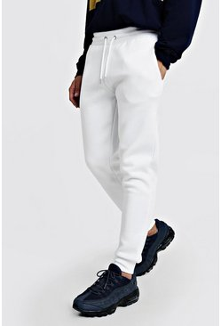 Mens White Slim Fit Joggers