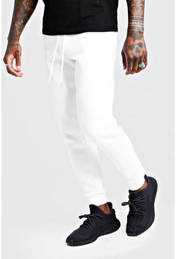 Mens White Basic Skinny Fit Joggers