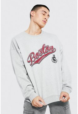 Grey marl Oversized Boston Varsity Printed Sweatshirt