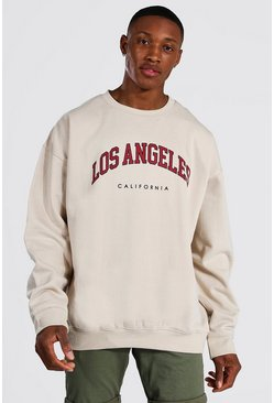 Sand Oversized Los Angeles Printed Sweatshirt