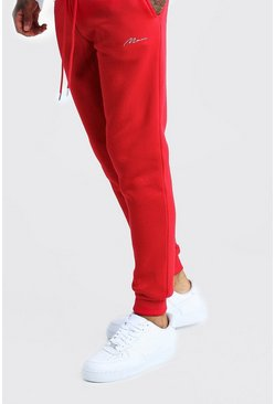Mens Red MAN Signature Slim Fit Joggers