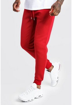 Mens Red Basic Skinny Fit Joggers
