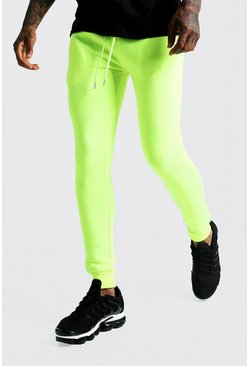 Mens Neon-yellow Super Skinny Joggers