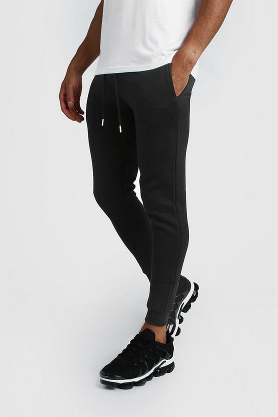 Mens Black MAN Dash Super Skinny Joggers