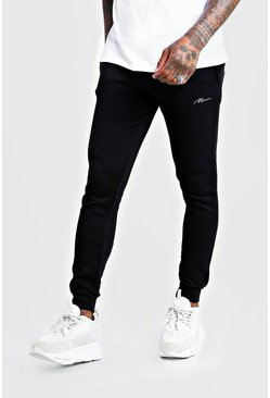 Mens Black MAN Signature Super Skinny Joggers
