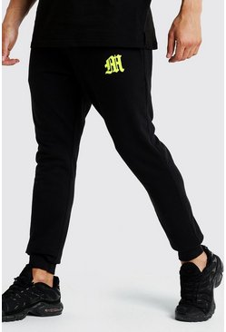 Mens Black M Embroidered Slim Fit Jogger