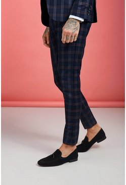 Mens Navy Check Skinny Fit Suit Trouser