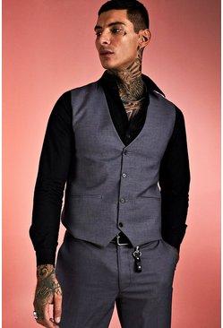 Grey Skinny Fit Plain Vest