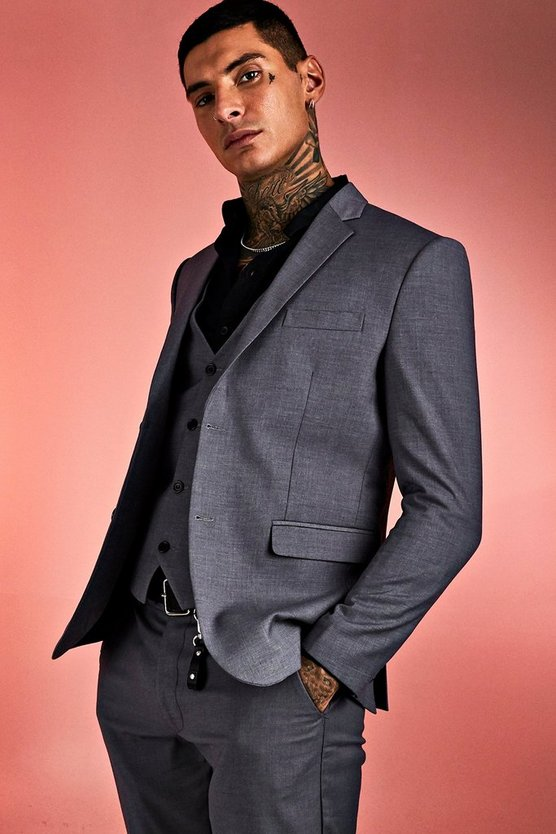 Mens Grey Plain Skinny Fit Suit Jacket