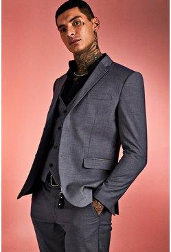 Grey Skinny Fit Plain Suit Jacket