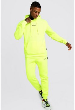 Mens Neon-yellow Original MAN Neon Hooded Tracksuit With Tab