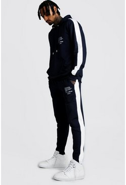 Mens Navy Tricot Hooded MAN Print Tracksuit With Side Panels