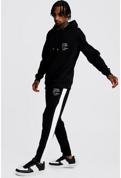 Mens Black Tricot Hooded MAN Print Tracksuit With Side Panels