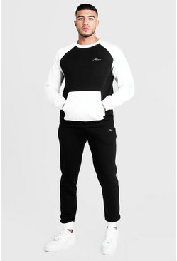 Survêtement sweat colorblock MAN, Noir, Homme