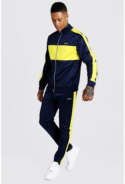 Mens Navy MAN Tricot Funnel Neck Colour Block Tracksuit