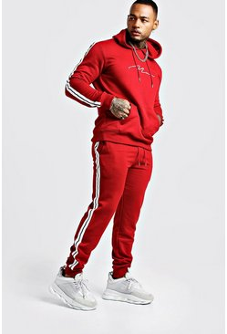 Mens Red MAN Signature Hooded Tracksuit With Tape Detail