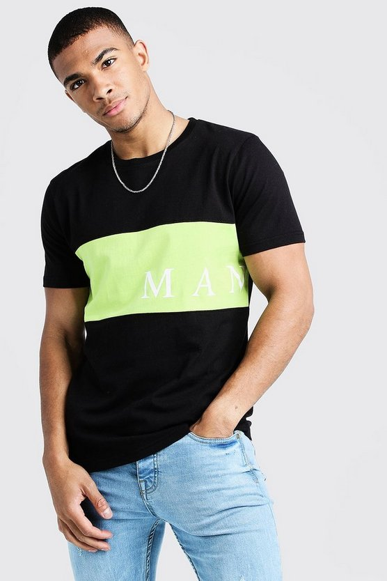 Black MAN Sport Contrast Panel T-Shirt