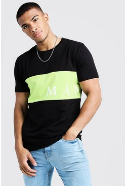 Mens Black MAN Sport Contrast Panel T-Shirt