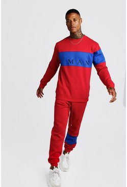 Mens Red MAN Sport Contrast Panel Sweater Tracksuit