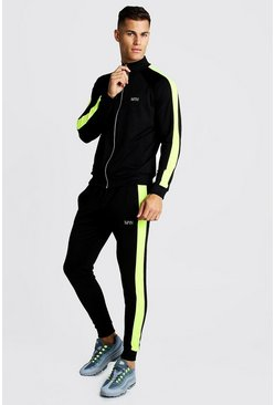 Mens Neon-yellow MAN Zip Through Tracksuit With Neon Panels