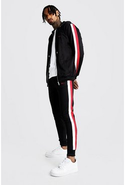 Mens Black MAN Zip Through Tracksuit With Double Panel