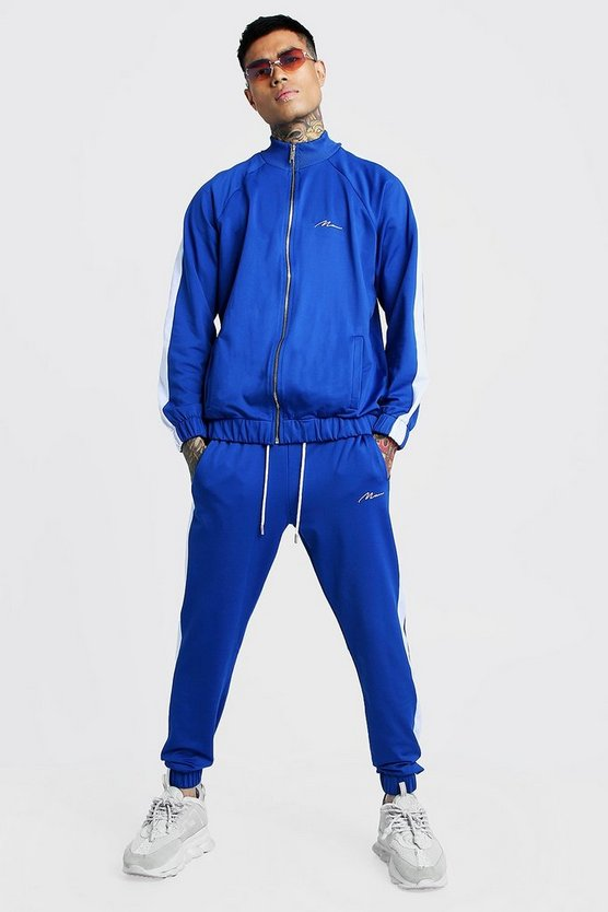 Mens Cobalt Tricot MAN Funnel Neck Tracksuit With Panels