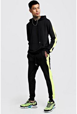 Mens Black Tricot Hooded Tracksuit With Contrast Panels