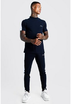 Mens Navy MAN T-Shirt & Jogger Set With Contrast Panels