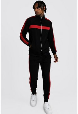 Black Tricot Zip Through  Panelled Tracksuit