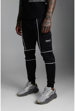 Black Official MAN Print Tricot Cargo Jogger With Piping