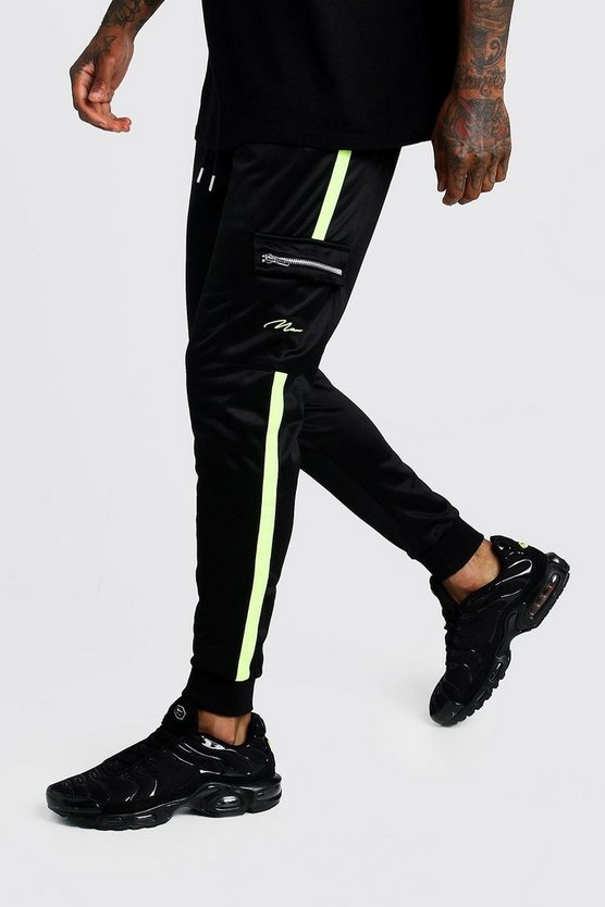 Mens Black Tricot MAN Cargo Joggers With Neon Panels