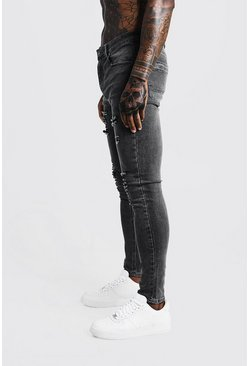 Grey Super Skinny Jeans With All Over Rips