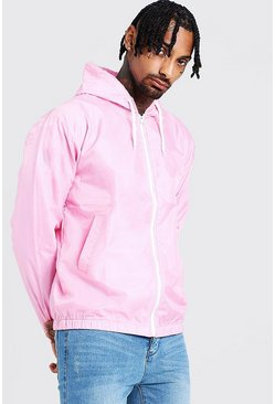 Mens Dusky pink Hooded Zip Through Jacket