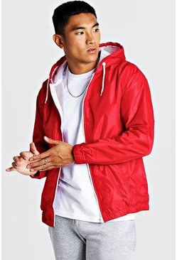 Mens Red Hooded Zip Through Jacket