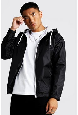 Black Hooded Zip Through Jacket