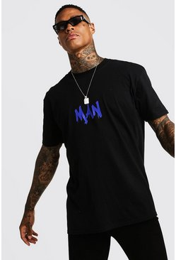 MAN Oversized Back Print T-Shirt, Black, HERREN