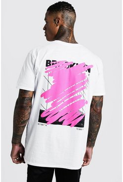 MAN Oversized Graffiti Back Print T-Shirt, White, HOMMES