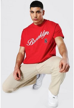 Oversized Brooklyn Varsity Printed T-shirt, Red