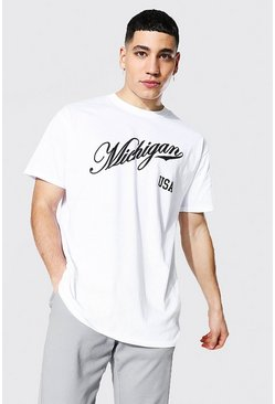 Oversized Michigan Varsity Printed T-shirt, White