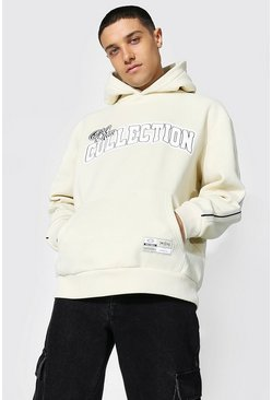 Oversized Varsity Collection Tape Hoodie, Sand