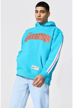 Blue Oversized Varsity Collection Tape Hoodie