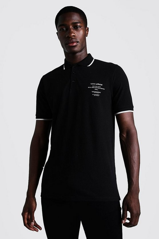Mens Black MAN Limited Edition Polo