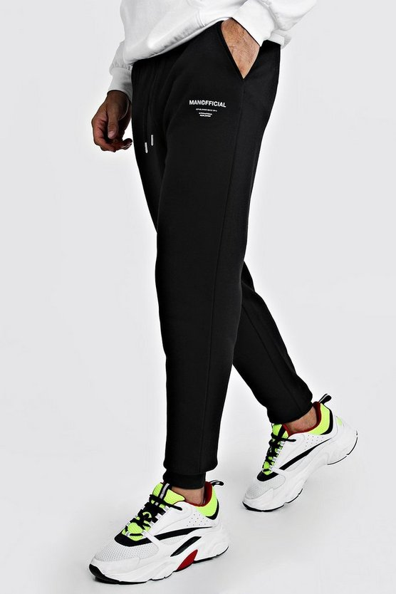 Mens Black MAN Official Printed Joggers