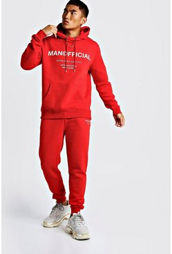 Mens Red MAN Official Hooded Tracksuit